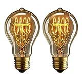 2 Nostalgisch 40 Watt Vintage Weißglühend Edison Benennen Birnen, Warmes Weiß, Eichhörnchen Käfig-Stil Faden Filament XBNH