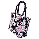 meizu88 Women Rose Flower Canvas Small Zipper Shopping Handbag Tote Shoulder Bag size 30cm x 20cm x 9cm (Black)