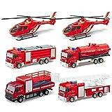 iVansa Mini Legierung Feuerwehrauto Lastwagen Autos 6er Set Fahrzeugset, Kunststoff Spielzeugauto Mini Fahrzeuge Kinder Baustelle Spielzeugautos Modelle für Kinder ab 3 Jahren