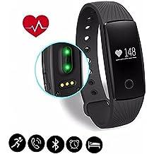 Braccialetto Fitness,CAMTOA ID107 Bluetooth Touchscreen OLED Fitness Tracker/IP65 Smart Bracelet/ - Misurazione Frequenza Cardiaca/Contapassi/ Monitoraggio del Sonno/Controllo Fotocamera/ Sveglia/Notifiche Chiamate/SMS/Whatsapp/Facebook per Iphone IOS &Android