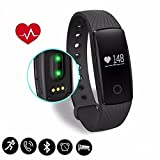 Braccialetto Fitness,CAMTOA ID107 Bluetooth Touchscreen OLED Fitness Tracker/IP65 Smart Bracelet/ - Misurazione Frequenza Cardiaca/Contapassi/ Monitoraggio del Sonno/Controllo Fotocamera/ Sveglia/Notifiche Chiamate/SMS/Whatsapp/Facebook per Iphone IOS &Android
