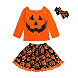 LSAltd 3pcs Kleinkind Kinder Baby Mädchen Halloween Kleidung Set Neugeborenen Niedlichen Kürbis Cartoon Print Kinder Langarmshirts + Rock + Stirnband Halloween Kostüm Outfits Set (6T, Orange)
