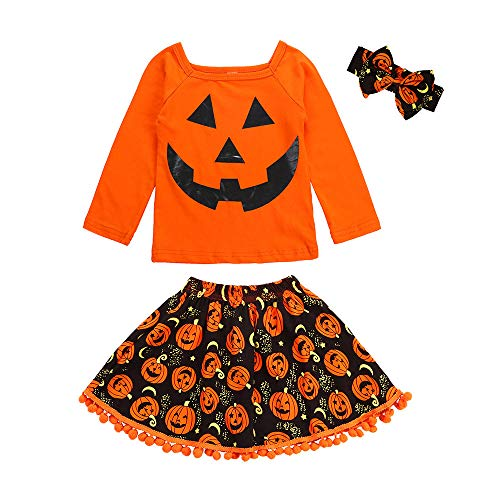 Honestyi BabyBekleidung 3 Stücke Kleinkind Kinder Baby Mädchen Cartoon Tops Rock Halloween Kostüm Outfits Set (100,Orange) (Top 100 Kostüm)