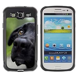 LASTONE PHONE CASE / Weich Gummi Kieselgel Hülle Schutz Etui für Samsung Galaxy S3 I9300 / Black Labrador Retriever Muzzle Dog Pet
