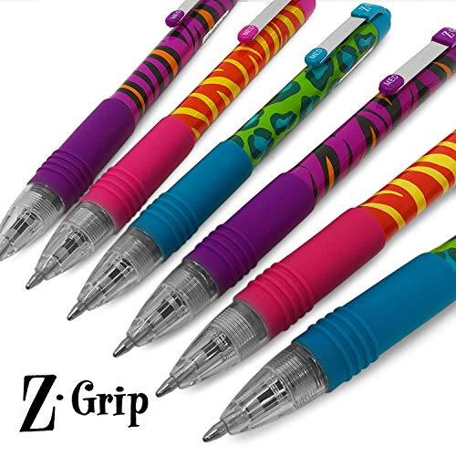 Zebra Z-Grip Funky-Animal Brights Muster Roll-farbige Kugelschreiber, farblich sortiert, 6Stück Funky Animal