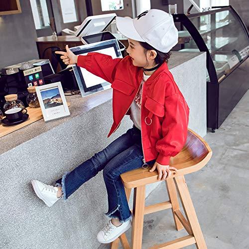 Xing guang giubbotti per le bambine autunno nuovi coreano abbigliamento per bambini giacche primaverili e autunnali top western per bambine uniforme da baseball,red(110cm)