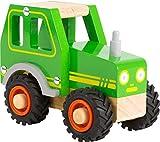 small foot 11078 Einsatzfahrzeug Traktor aus Holz, mit Fahrerhaus und gummierten Rädern, ab 18 Monaten