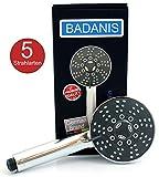 BADANIS - NEU - wassersparender Duschkopf (10,5 ltr./Min. 5 Strahlarten ⌀ 105 mm) Handbrause mit Antikalk Silikonnoppen, Duschbrause für kalkhaltiges Wasser, Brausekopf für Badewanne & Dusche