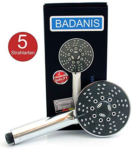 Duschkopf - BADANIS Handbrause wassersparend (10,5 ltr./Min. 5 Strahlarten ⌀ 105 mm) Duschbrause mit Antikalk Silikonnoppen, Handdusche für kalkhaltiges Wasser, Brausekopf für Badewanne & Dusche