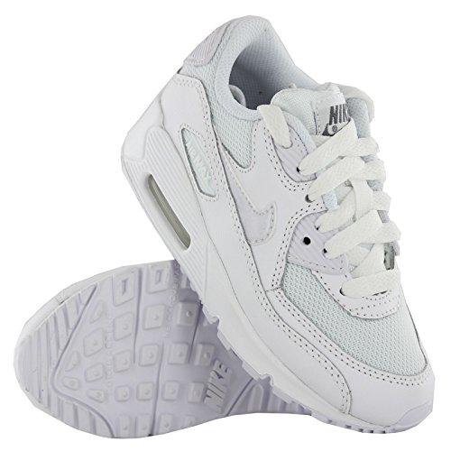 Nike Unisex Baby Air Max 90 Mesh (Ps) Lauflernschuhe Blanco / Gris (White / White-Cool Grey)