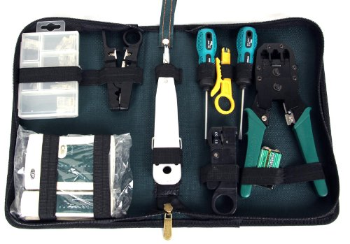 Cat5e 110 Block (FreshGadgetz Set 1 RJ45 RJ11 Netzwerkkabel Crimp Zangen Werkzeug + Kabel Tester)