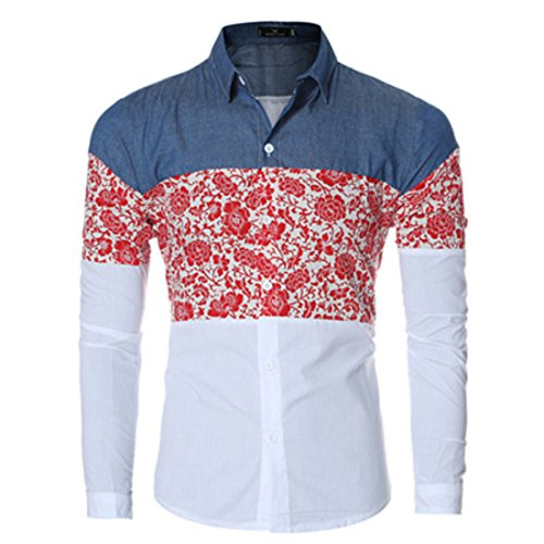 Men's Floral Printed Long Sleeve Slim Fit Casual Jeans Shirts red
