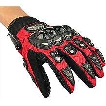 fenrad® Paio Rosso Full Finger Guanto Protettivo Moto Protezione Scooter Offroad Motocross Bicicletta Ciclismo Taglia L(23-24CM)--Red