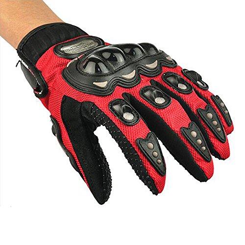 Contever® Completo Dedos Guantes de Carreras de Motos Motocross Ciclismo Suciedad Bicicleta Equitación Guantes Para Hombres/Mujer al Aire Libre Deportes(Rojo-Size XL)