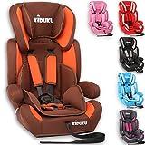KIDUKU ® Autokindersitz Kindersitz Kinderautositz, Sitzschale, universal, zugelassen nach ECE R44/04, in 6 verschiedenen Farben, 9 kg - 36 kg 1 - 12 Jahre, Gruppe 1 / 2 / 3 (Braun/Orange)