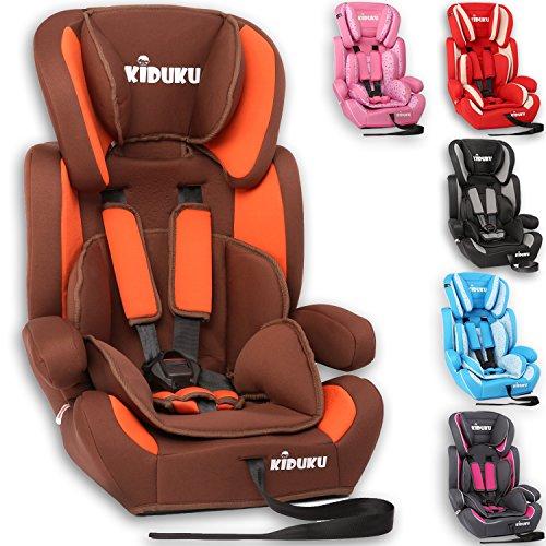 KIDUKU Autokindersitz Kindersitz Kinderautositz, Sitzschale, universal, zugelassen nach ECE R44/04, in 6 verschiedenen Farben, 9 kg - 36 kg 1-12 Jahre, Gruppe 1/2 / 3 (Braun/Orange)