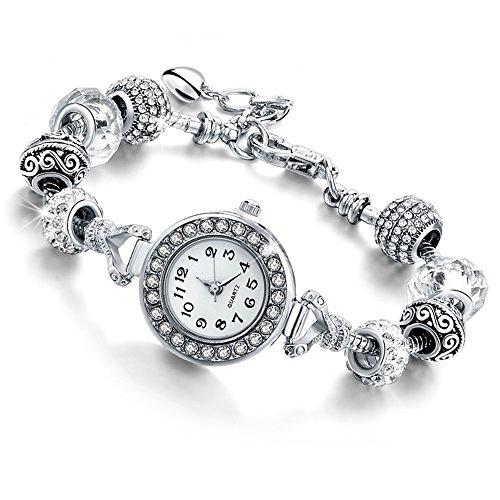 Damen Uhr Armband mit Kristallen–Damen Armband mit Beads Silber kompatibel Pandora–Bead in Glas, Kristall und Metall–Verstellbar bis 21cm–Zifferblatt verziert BIANCO