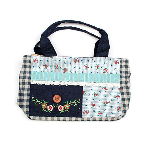 Stoffhandtasche mit floralen Muster und and den Seiten kariert (blau) blau