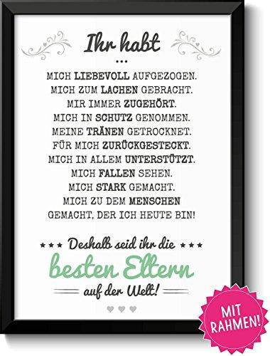 Beste Eltern - Bild mit liebevoller Danksagung mit Rahmen - Geschenkidee Geburtstag Hochzeitstag Vatertag Muttertag