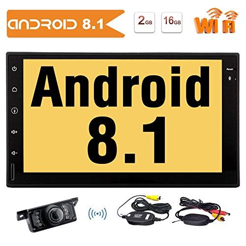 Doppel-DIN-Android 8.1 Autoradio-Stereo 7-Zoll-HD-Touch Screen Audio-Player GPS-Navigation Bluetooth-Steuerger?t Unterst¡§1tzung WiFi, Telefon Synchronisation, Lenkrad-Steuerung, RDS, OBD2 + Wireless