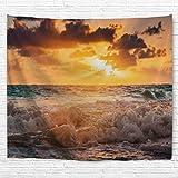 izielad Ozean Dekor Sonnenuntergang vor der Dämmerung bei Cloudy Natur und Ruhe Meer mit Wellen Bild Schlafzimmer Living Kinder Mädchen Jungen Zimmer Wohnheim Zubehör Wandbehang Tapisserie 153x102cm 60