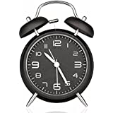 Drillpro Retro Glockenwecker Analog Quarzwecker mit Nachtlicht Lauter Alarm,kein Ticken geräuschlos,Mini Doppelglockenwecker Alarm Wecker Schwarz