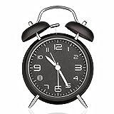 Drillpro Réveil métal à Double Cloche avec la lumière de nuit,Grand cadran de 4 pouces avec alarme sonore,pas tic-tac et silencieux Noir