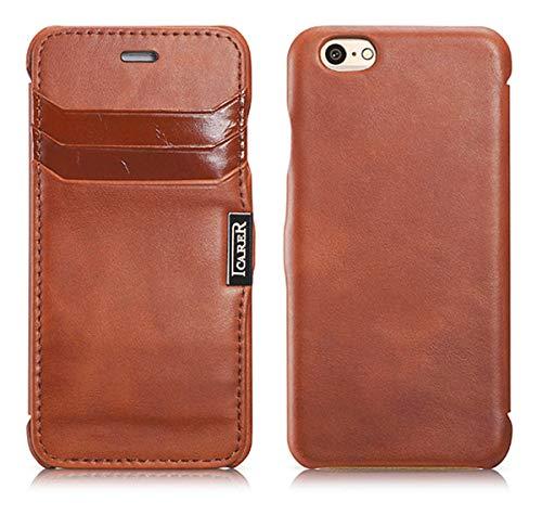 Luxus Tasche für Apple iPhone 6S und iPhone 6 (4.7 Zoll) / Case Außenseite aus Echt-Leder / Schutz-Hülle seitlich aufklappbar / ultra-slim Cover / Kartenfächer / Vintage Look / Dunkel-Braun - Flip-telefon Fall Iphone
