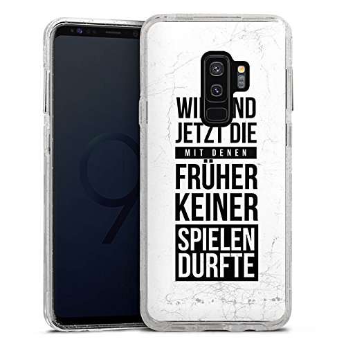 DeinDesign Samsung Galaxy S9 Plus Bumper Hülle silber transparent Bumper Case Schutzhülle Glitzer Look Humor Fun Sayings