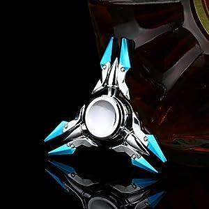 Ancient Chinese Mythology Design Anglewolf Metal Hand Spinner Tri Fidget Desk Toy EDC Stocking Stuffer Kids/Adult (Silver 1)