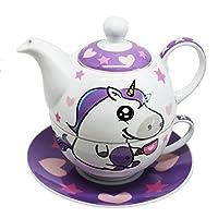 EinhornLiebe - Tetera y taza de porcelana con motivo de unicornio, 4 piezas