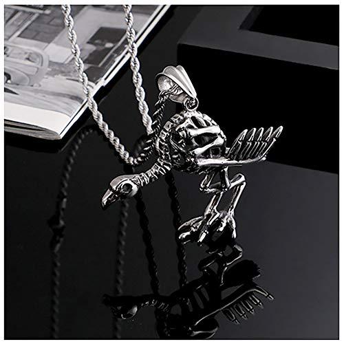 YinXX Hohlvogel Skelett Anhänger Halskette, Punk-Stil Halsketten für Frauen, 24