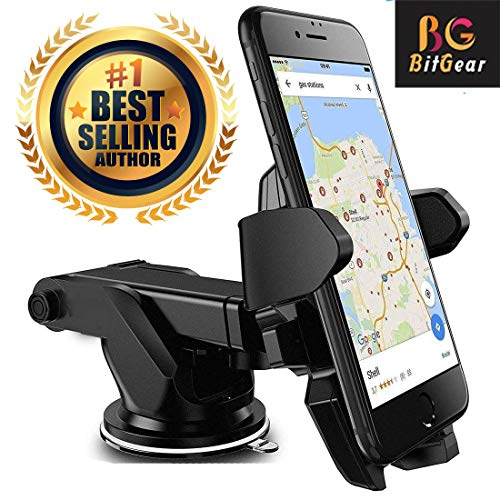BitGear Car Mobile Holder/Stand Adjustable with Windshield/Dashboard/Working Desk Mount with Quick One Touch Technology for Mobile Phones (Black)