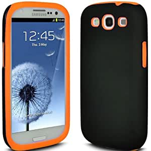 (Arancione) Samsung Galaxy S3 i9300 Dual Shock Protection ibrida della cassa del silicone Proof copertura della pelle e schermo LCD proteggi Entro * Aventus *