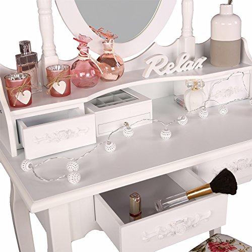 TRESKO® Schminktisch Frisiertisch Frisierkommode Kosmetiktisch Make-Up-Tisch mit Kippsicherung, Schminkhocker, neigbarem Schwenkspiegel und 4 Schubladen, Holz, weiß -