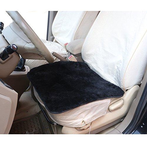 Preisvergleich Produktbild Autositzkissen Lammfell universal Sitzkissen 100% Echtlammfell, feste Wolle, ca. 1.8cm dicke, 50 x 50 cm, Schwarz AS7340sz