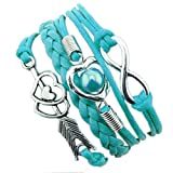 ODJOY-FAN 1PC Frau Lederseil Mehrschichtig Armband Liebe Herz Charm-Armbänder Antiquität Leder Charme Handketten (C,1 PC)