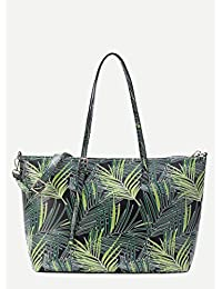 Premium Leaf Print PU Shoulder Bag With Adjustable Strap