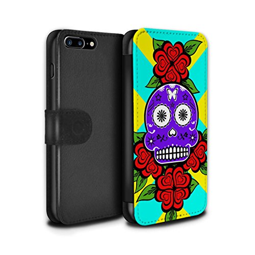Stuff4 Coque/Etui/Housse Cuir PU Case/Cover pour Apple iPhone 7 Plus / Jaune/Rose Design / Crâne Calavera Collection Violet/Rose