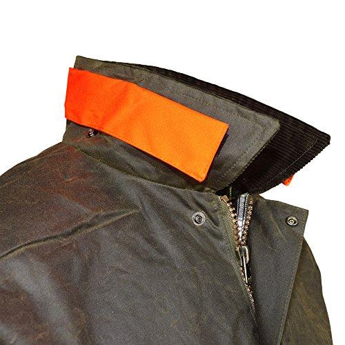 Wachjacke New England Jager | Robuste wind- und wasserdichte Regenjacke | Für Jäger mit Hasentasche und Signalstreifen | Inklusive Kapuze Oliv