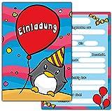 10 Einladungskarten zum Kindergeburtstag Pinguin // Geburtstagseinladungen Einladungen Geburtstag Kinder Jungen Mädchen Tier Ballon Einladungstext 1. 2. Vorlagen Karten