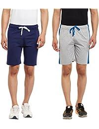HAIG-DOT Men's Denim Navy And Light Grey Cotton Shorts Combo (Pack Of 2) - B0737344VQ