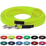 LENNIE BioThane Schleppleine, 8m mit Handschlaufe, Neon-Gelb, 16mm für große Hunde, genäht
