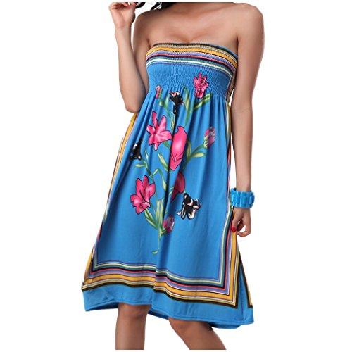 "Waooh - Fashion - Kurzes Kleid Blumendruck "" Anastacia "" Blau"