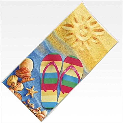Velour Frottee Baumwolle Strandtuch Handtuch Duschtuch 80x150cm Neu Bunt Spaß Flip-Flops Schuhe Strand Sonne Meer Urlaub -