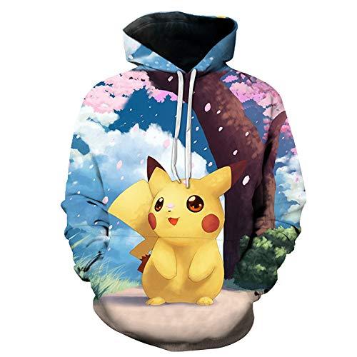 WEIYIGE 3D-Pullover Pikachu Print Kapuzen-Sweatshirt-M
