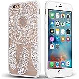 """Apple iPhone 6 / 6s 4.7"""" Funda – HanLuckyStars [Anti-rasguños ] [Matte Clear] [Embossed Pattern] Case Caver Carcasa Funda TPU Bumper Tope Shock ,Absorción Borrar Espalda , Gratis Protector Pantalla Lado Esquina para iPhone 6 / 6s 4,7"""" (Atrapasueños-Blacos )"""