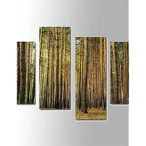 Genérico CHINT lienzo paisaje paisaje arbolado de impresión 4 paneles verticales para Salón con algodón Dibujo(sin marco) NL2686