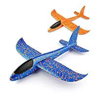 VCOSTORE 2pcs Throwing Foam Glider Airplane,EEP Manual Inertia Airplane Durable Aircraft for Kids Outdoor Sport Toys (Blue/Orange)
