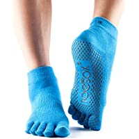 Toesox Full Toe Ankle Calcetines de Yoga, Unisex Adulto, Azul (Skydiver), S